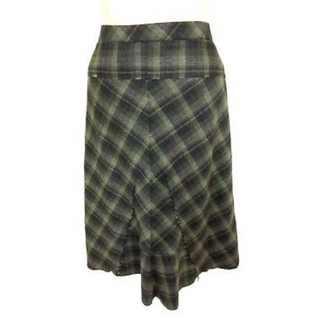 "Item - Green ""Lori"" Olive Fit and Flared Wool Plaid Skirt Size 12 (L, 32, 33)"