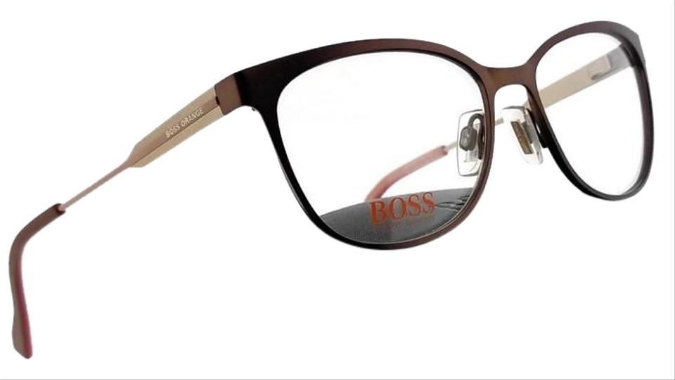 2ea0969314 Hugo Boss BO0233-LH2-54 Square Women s Brown Frame Clear Lens Genuine  Eyeglasses ...