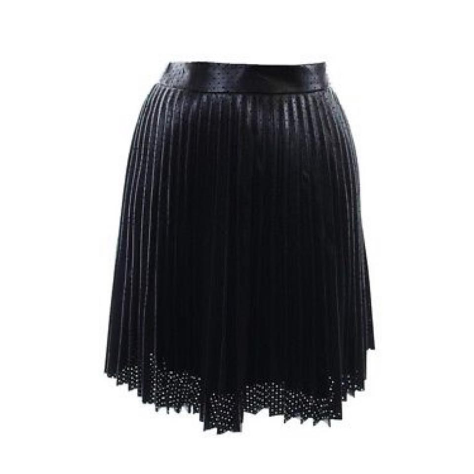 4d3f93b6ad Bar III Black Perforated Faux-leather Pleated Anthracite Skirt Size ...