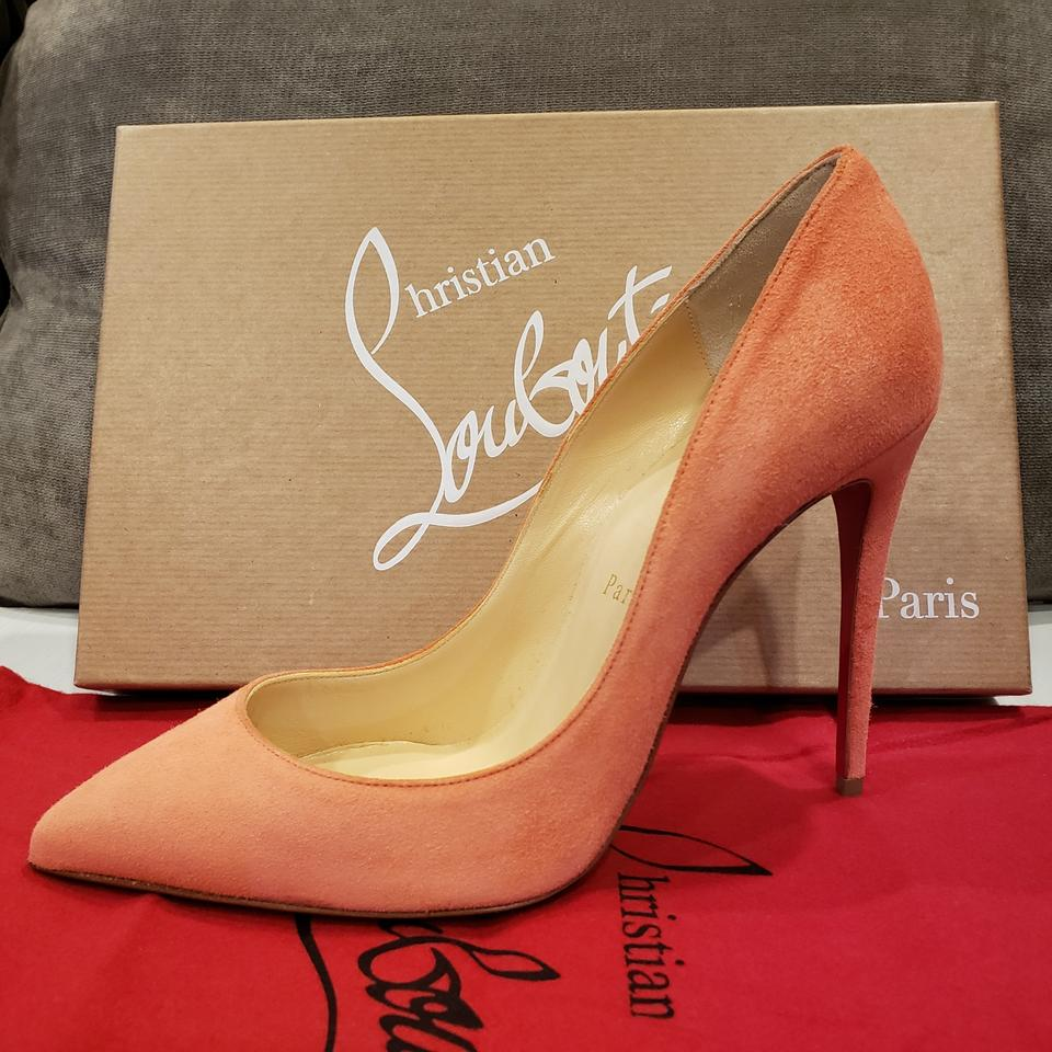 7ca1317e7f48 Christian Louboutin Stiletto Pigalle Follies Heels Suede Charlotte (Peachy  Pink) Pumps Image 10. 1234567891011