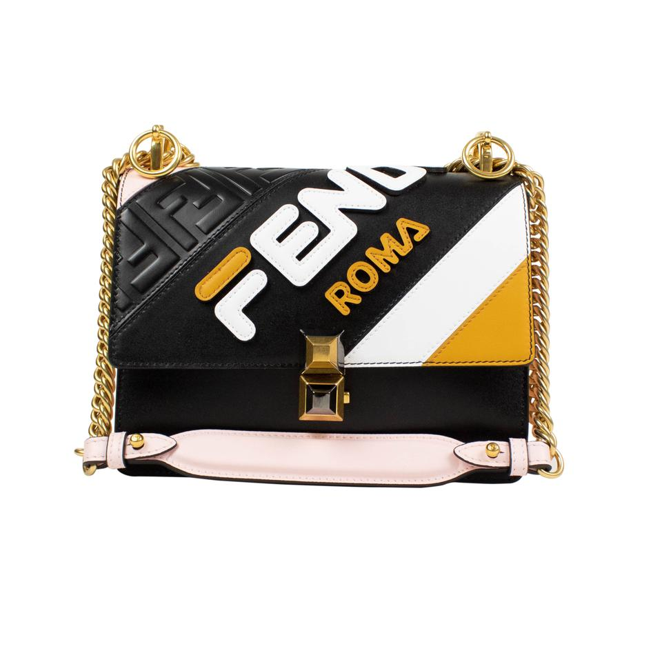 d8bf03a9fef2 Fendi  mania Kan  Chain Strap Small Black Pink Leather Shoulder Bag ...
