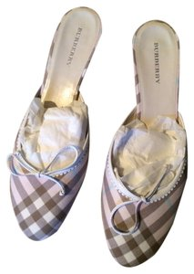 Burberry Ballet Style Front Plaid Bow Detail Pink/Taupe/White Mules