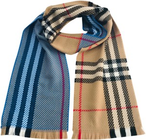 Burberry Women's Blue Giant Check Color-block Wool Scarf