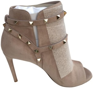Valentino Studs Heel Open Toe Poudre Boots