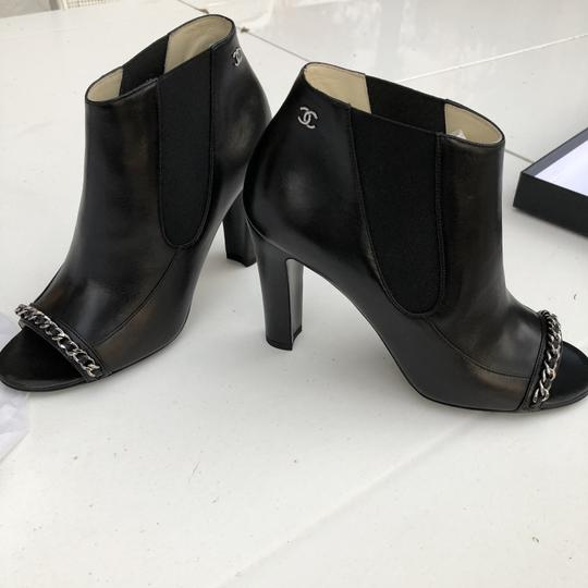 Chanel Chain Leather Black Boots Image 3