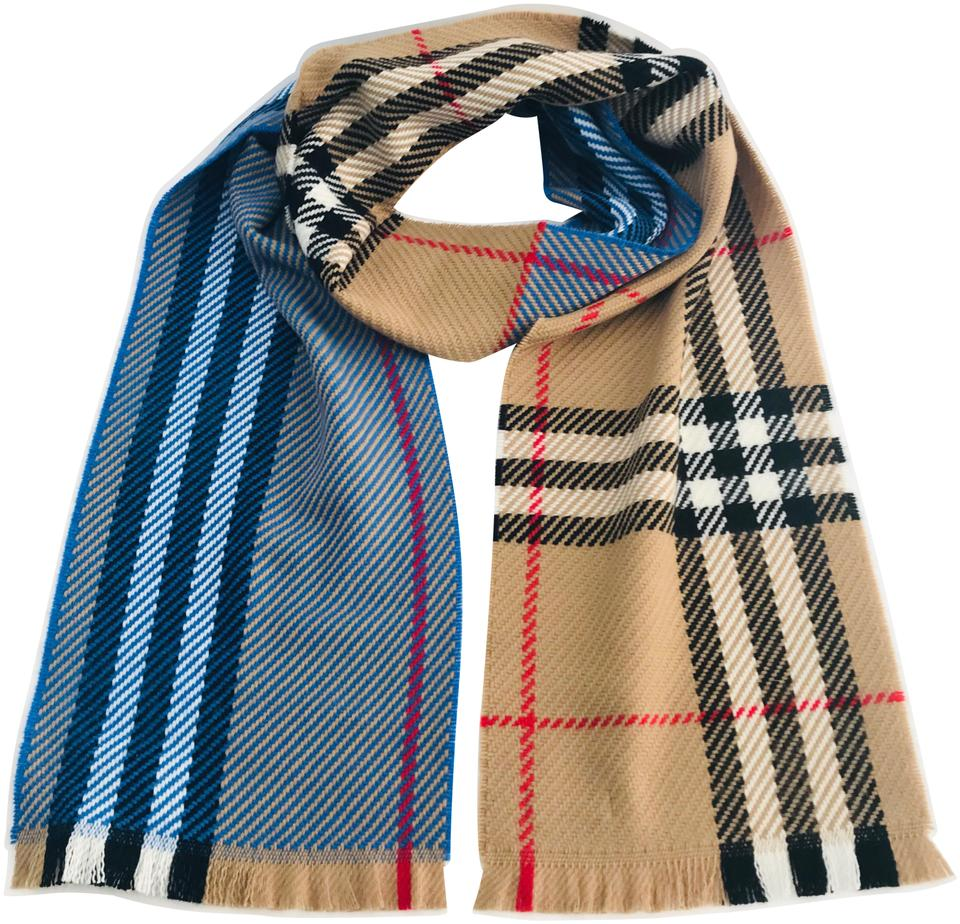 20e78d2f7 Burberry Bright Hydrangea Blue Women's Color Block Giant Check Wool ...