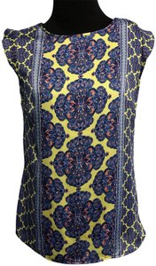 The Limited Kaleidoscope Silky Print Damask Cap Sleeve Top Blue & Yellow