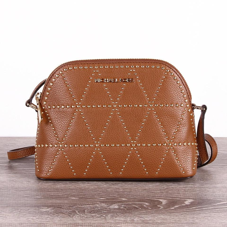 d6ccc8ceebcb Michael Kors Adele Medium Dome Emmy Cindy Brown Lugggage Leather Cross Body  Bag 66% off retail