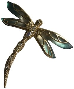Alexis Bittar lucite Neon bohemian Pave Dragonfly Pin