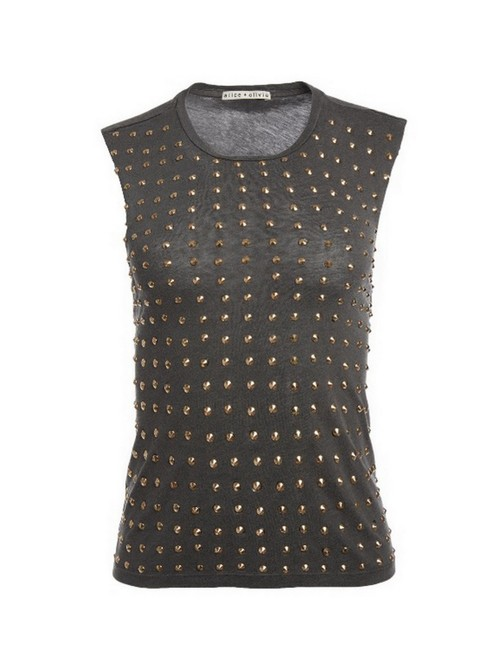 Item - Black/Gold Cicely Studded Tee Shirt Size 8 (M)