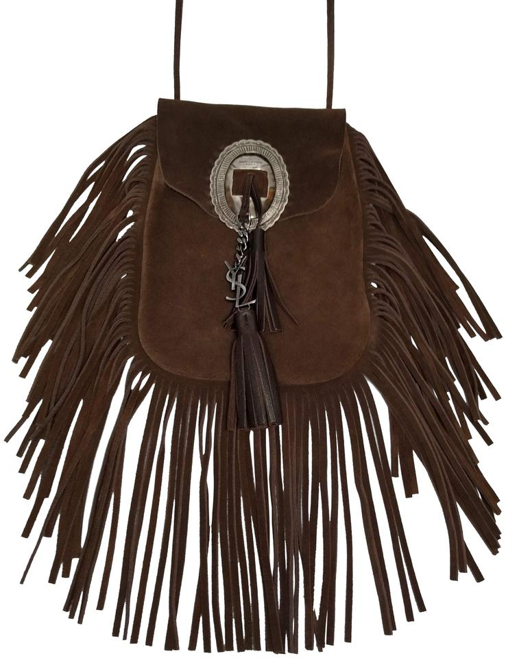 57f1ff7dee4 Saint Laurent Anita Flat Fringed Brown Suede Cross Body Bag - Tradesy