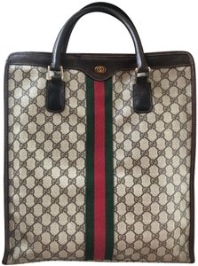 Gucci Made In Italy Vintage Monogram Web Leather Tote in Brown