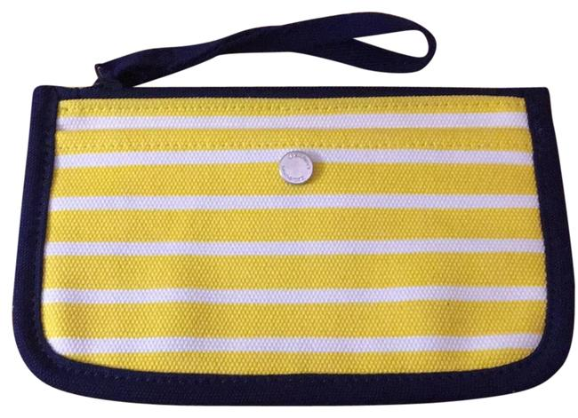 Item - Yellow and White Stripes with Navy Trim Wallet