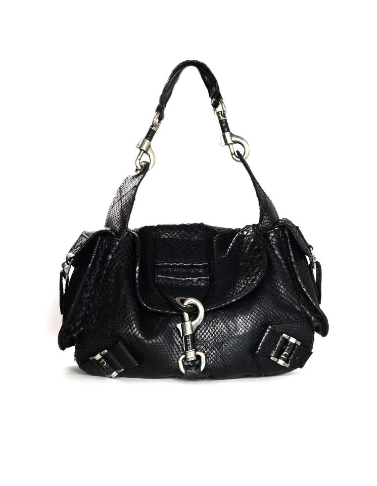 Dior Christian Limited Edition with Side Pockets Black Python Skin ... dc6a029bc77ea