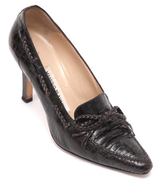Item - Brown Leather Pointed Toe Loafer Heel Pumps Size EU 37 (Approx. US 7) Regular (M, B)