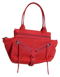 Botkier Lizard Embossed Leather Satchel in Red