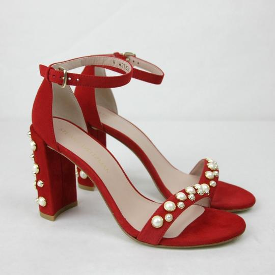 Stuart Weitzman Morepearls Suede Ankle Strap Red Sandals Image 3