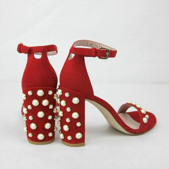 Stuart Weitzman Morepearls Suede Ankle Strap Red Sandals Image 4