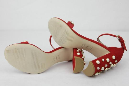 Stuart Weitzman Morepearls Suede Ankle Strap Red Sandals Image 7