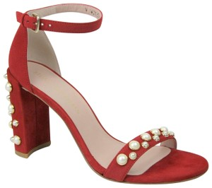 Stuart Weitzman Morepearls Suede Ankle Strap Red Sandals