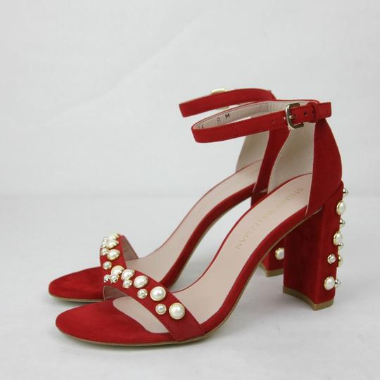 Stuart Weitzman Morepearls Suede Ankle Strap Red Sandals Image 1