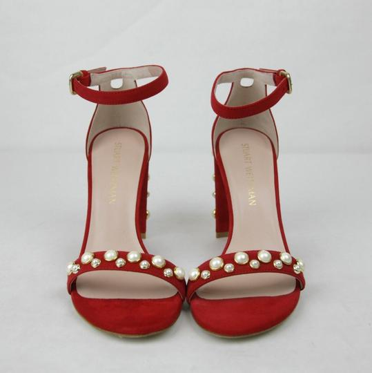 Stuart Weitzman Morepearls Suede Ankle Strap Red Sandals Image 2