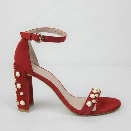 Stuart Weitzman Morepearls Suede Ankle Strap Red Sandals Image 5
