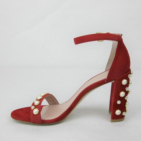 Stuart Weitzman Morepearls Suede Ankle Strap Red Sandals Image 6