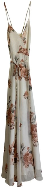 Item - Cream Floral Print Elegantly Inclined Wrap Long Casual Maxi Dress Size 0 (XS)