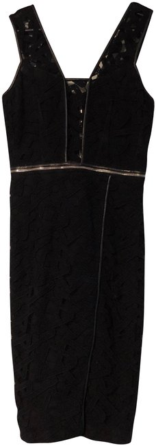 Item - Black Leather Trim Cropped Top Convertible Mid-length Night Out Dress Size 2 (XS)