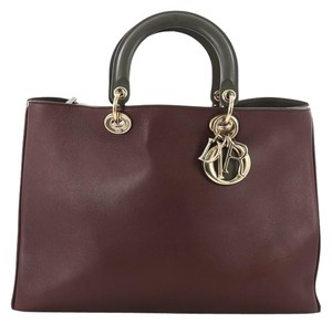 Dior Leather Tote in Burgundy