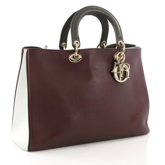 Dior Leather Tote in Burgundy Image 2