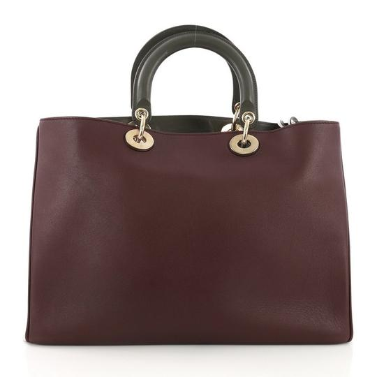 Dior Leather Tote in Burgundy Image 3
