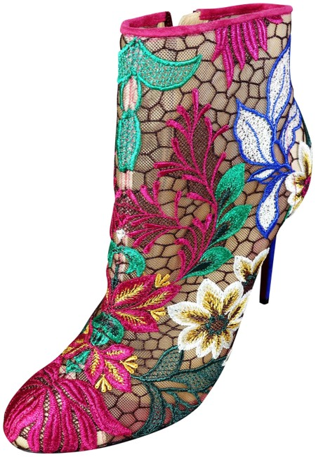 Item - Blue & Multicolor Miss Tennis 100 Floral Mesh Embroidery Ankle New Boots/Booties Size EU 37.5 (Approx. US 7.5) Regular (M, B)