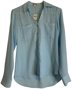 Express Button Down Portofino Top Light Blue