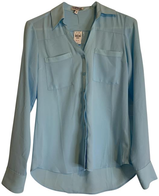 Express Button Down Portofino Top Light Blue Image 0