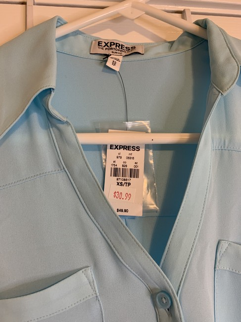 Express Button Down Portofino Top Light Blue Image 2