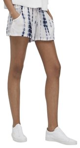 French Connection Tie Dye Drawstring Pockets Mini/Short Shorts Blue and white