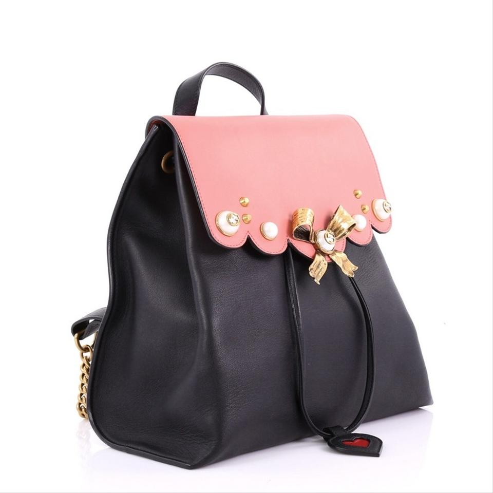 18867e188072 Gucci Pearly Peony Medium Pink and Black Leather Backpack - Tradesy