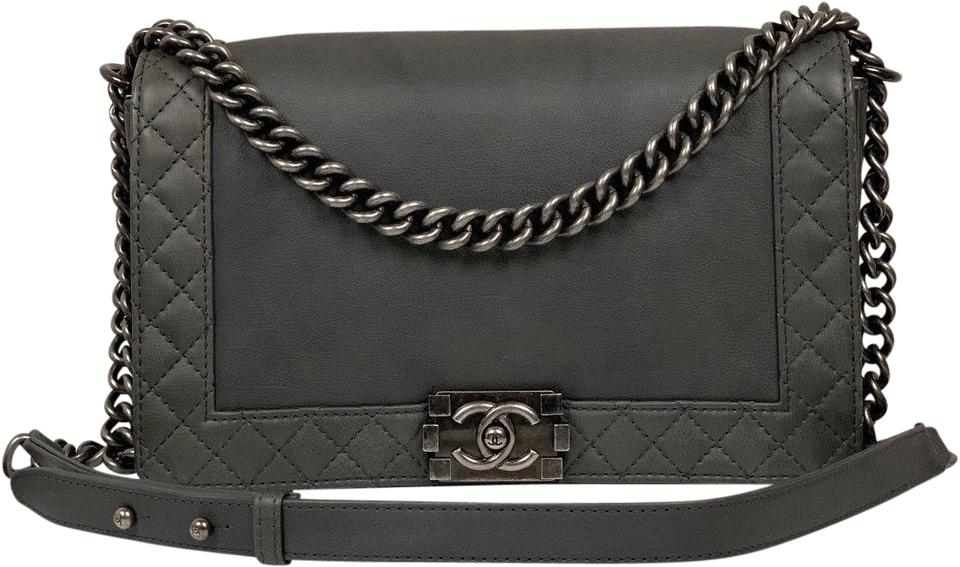 e9106487e07b Chanel Boy Large Reverso Quilted Ruthenium Gray Calf Leather ...