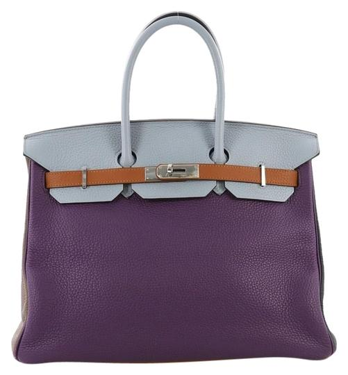 Hermès Birkin Leather Tote in Ultra Violet, Etain, Bleu Lin, Blue Obscur, Etoupe and Gold Image 0