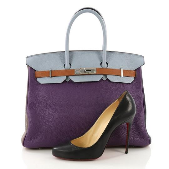 Hermès Birkin Leather Tote in Ultra Violet, Etain, Bleu Lin, Blue Obscur, Etoupe and Gold Image 1