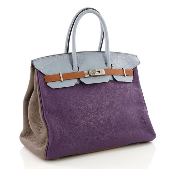 Hermès Birkin Leather Tote in Ultra Violet, Etain, Bleu Lin, Blue Obscur, Etoupe and Gold Image 2