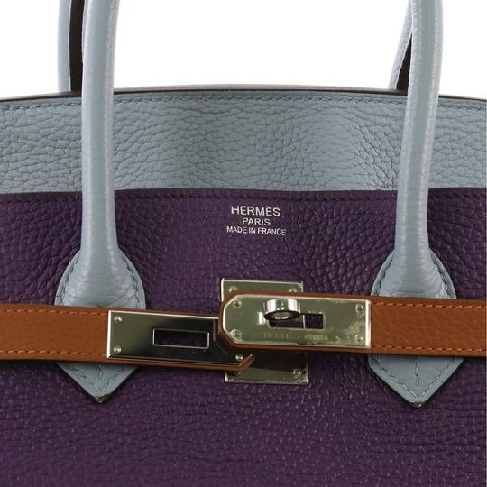 Hermès Birkin Leather Tote in Ultra Violet, Etain, Bleu Lin, Blue Obscur, Etoupe and Gold Image 7