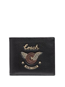 7bb79520dae Coach NEW MEN S COACH (f38583) DOUBLE BILLFOLD EASY RIDER MOTIF PEBBLED LEAT