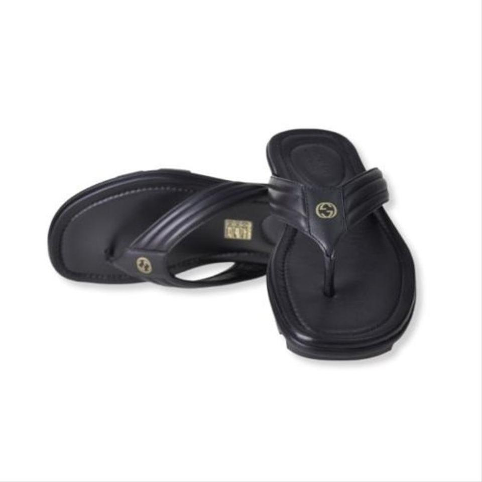 eff5f81cf0ca Gucci Black Leather Gold Gg Logo Thong Sandals Flops Slides 9 10 ...