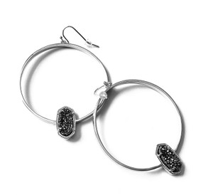 Kendra Scott BRAND NEW Kendra Scott Elora SILVER Hoop Earrings Platinum Drusy
