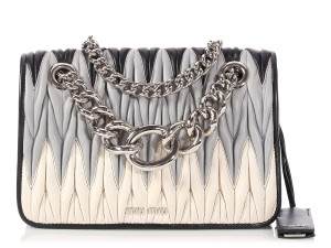 5c1096baa0f Miu Miu Mm.p1219.07 Quilted Tricolor Silver Hardware Chain Shoulder Bag