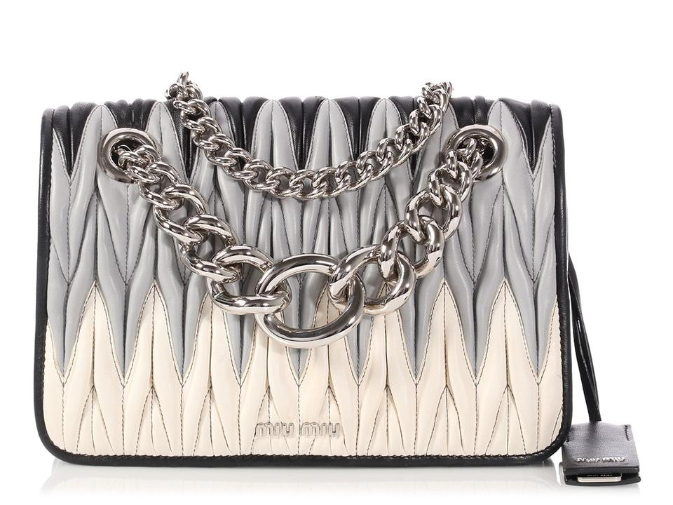 6ca0729b26f5 Miu Miu Mm.p1219.07 Quilted Tricolor Silver Hardware Chain Shoulder Bag ...