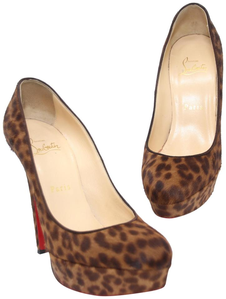 833380c48fb Christian Louboutin Brown Leopard Print Pony Hair Platform Red Pumps Size  US 7 Regular (M, B) 75% off retail
